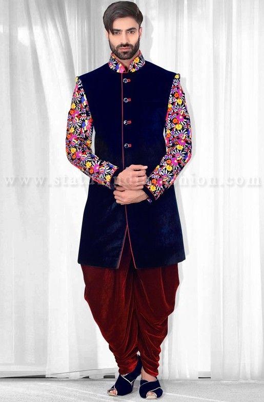 Mens Wear Groom Wedding Dress Groom Sherwani Designer Indo Western Bright Color Indowestern