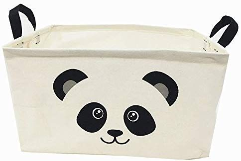 Unibedding Rectangle Canvas Toy Storage Bins Basket With Leather Handle Canvas Collapsible Toy Organiz In 2020 Canvas Toy Storage Fabric Storage Bins Toy Storage Bins