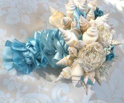 The Little Mermaid Beach Wedding - Under the Sea - blue seashell bouquet - Blog