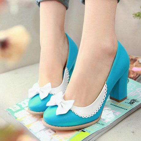 US$33.56] - Plus Size PU Chunky Heels with Bowknot Blue ...