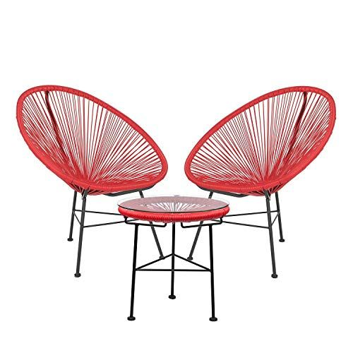 SKLUM Lot de 2 Chaises & 1 Table New Acapulco Rouge