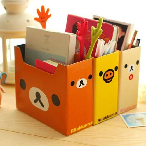 3pcs cute rilakkuma diy cardboard storage box pen holder - Desk drawer paper organizer ...