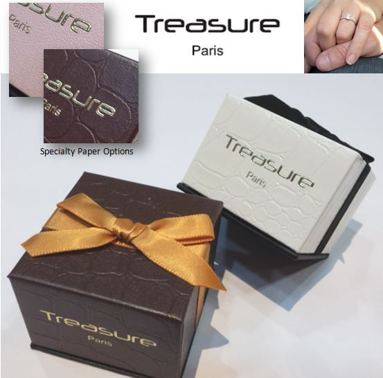 #Paper #JewelleyBox #RingBox with various colour #SpecialtyPaper in different #Embossed #Pattern.