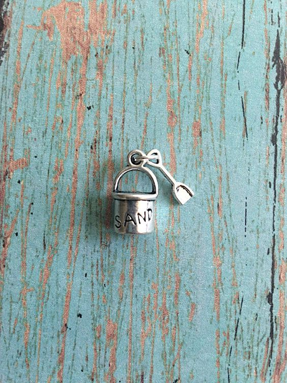 4 Sand bucket charms antique silver tone  by KimsFancyFindings
