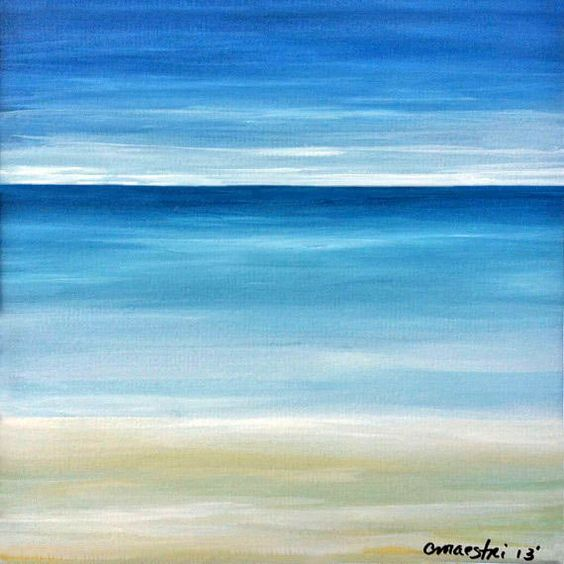 Artist – Chris Maestri  Title – Lonely Sea  Medium - Watercolor on 140lb Professional Grade Acid Free Paper  Size - Black Frame 14 x 14 - Painting Size 7 1/2 x 7 1/2    SALE!! From $69 to $45 for a Limited Time! This watercolor painting was done on paper in 2013.    The painting is framed and ready to hang in a black frame with a 10 1/2  white mat.    I use only professional quality paints and art supplies. All canvases/paintings arrive ready to hang upon their arrival to your home or…