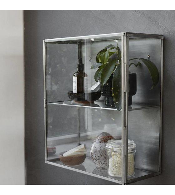 Wandkast Zink Grijs Metaal Glas 35x15x40cm Glasschrankturen