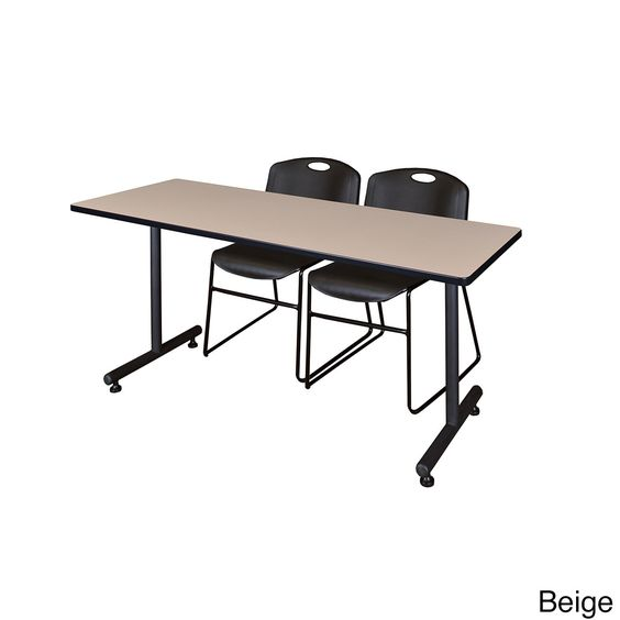Regency Seating Kobe 72-inch x 24-inch Training Table and 2 Zeng Stack Chairs