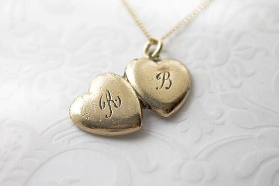 Tiny Vintage Locket Monograms B R Gold Filled Locket Necklace