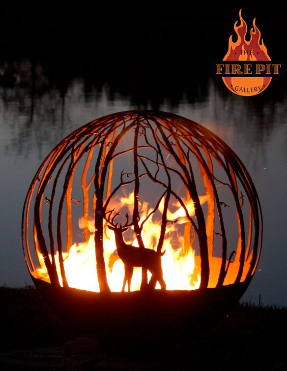 """Winter Woods. 37"""" Custom Steel fire pit.   The Winter Woods peaceful birch tree fire pit sphere seems to draw you in, as though you are standing in a quiet forest sanctuary. Design Your Own with the White Tailed Deer option (Buck). Designed by Artist Melissa Crisp of The Fire Pit Gallery."""