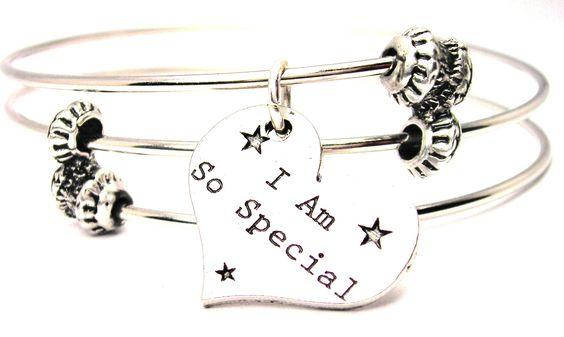 I Am So Special Heart Triple Style Expandable Bangle Bracelet