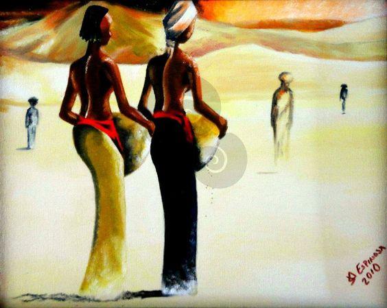 afican womens, arte, México, oil paint by Jorge D. Espinosa