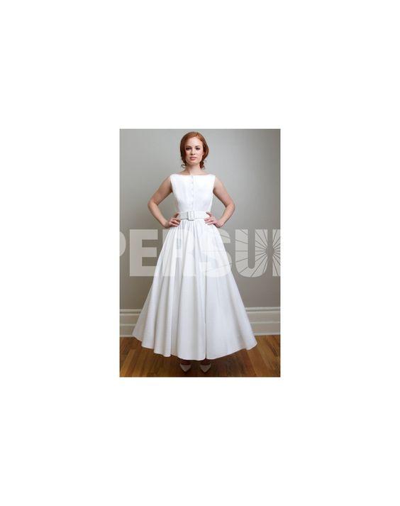 Sash Button Boatneck Taffeta A-line Wedding Dress Sale Online - DRESSESMALL