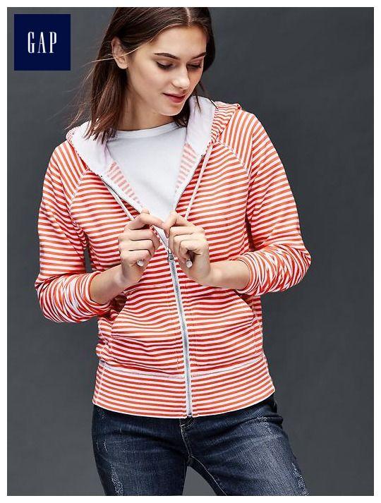 Essential stripe zip hoodie: