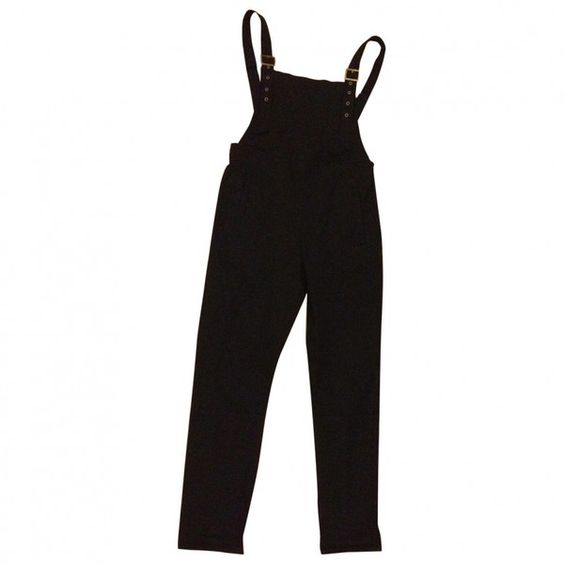 Pre-owned ASOS Black Cotton - elasthane Jeans (90 BRL) ❤ liked on Polyvore featuring pants, bottoms, overalls, dresses and asos