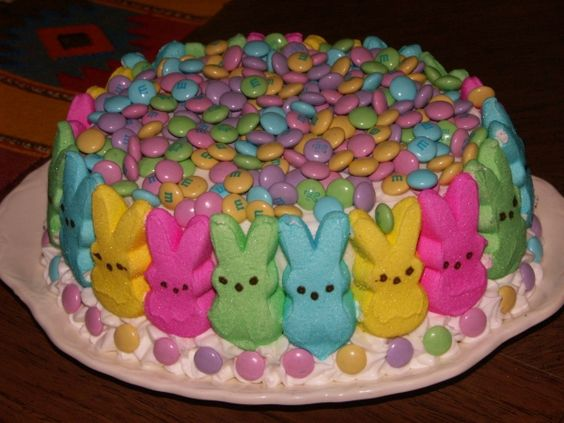 easter cake using peeps and spring m&m's