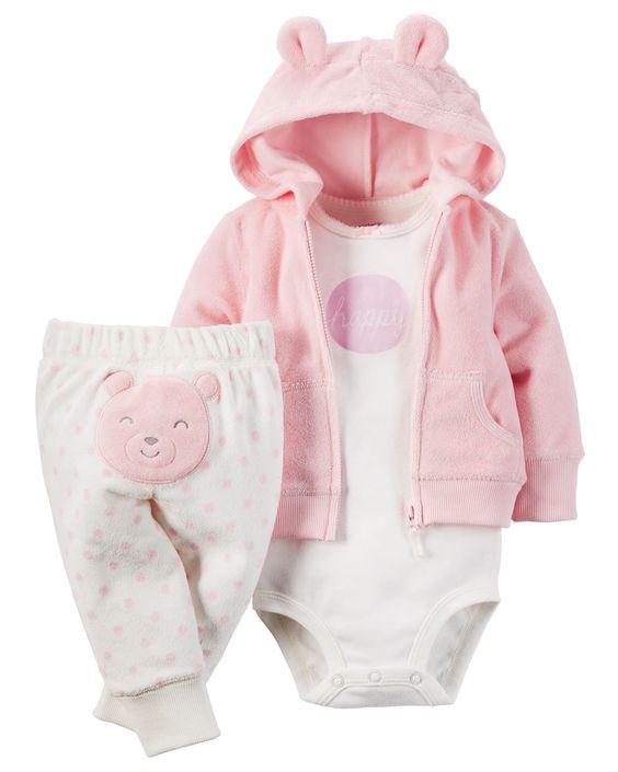 Ensemble 3 pièces cardigan en tissu bouclé pour bébés filles | Carter's OshKosh Canada