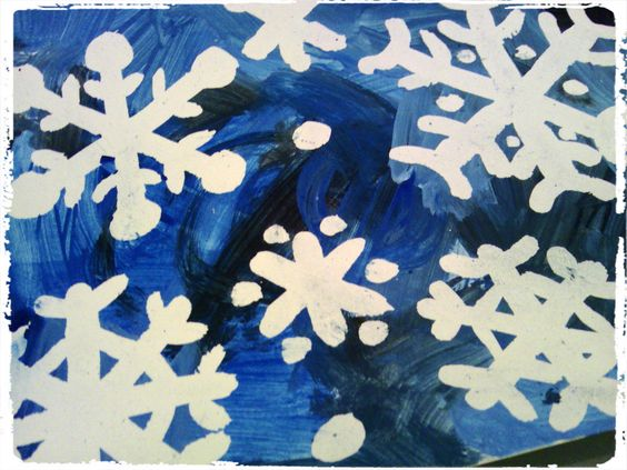 peinture drawing gum flocons de neige bricolage hiver froid enfant hiver pinterest. Black Bedroom Furniture Sets. Home Design Ideas