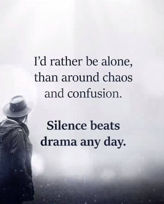 Positive Quotes : I\'d rather be alone than around chaos and ...