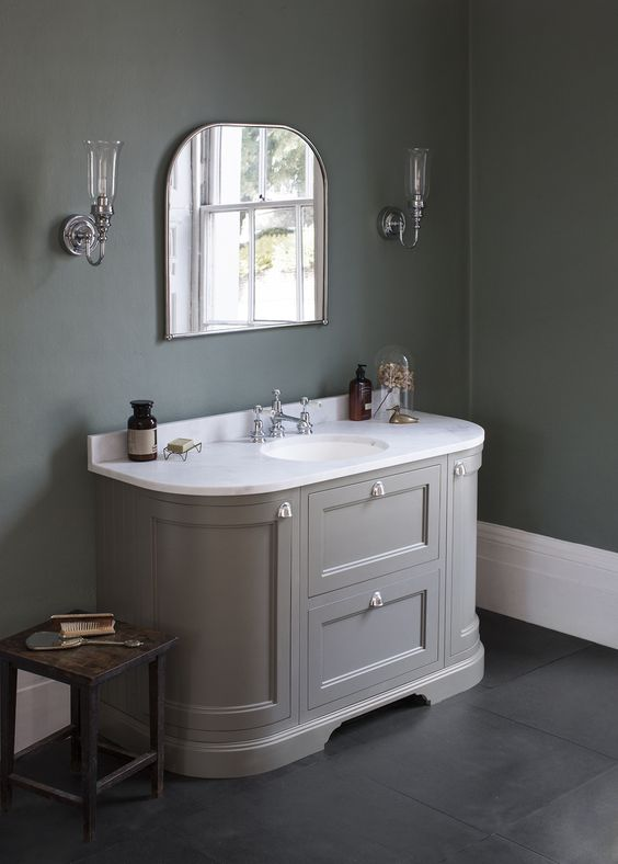 Add a touch of colour with our dark olive curved vanity for Bathroom cabinets ireland
