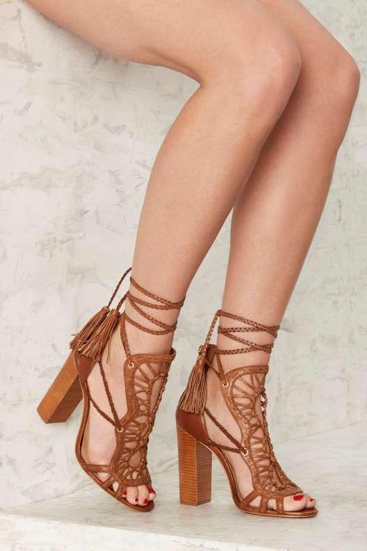 Schutz Dubai Leather Heel - Summer Romantics