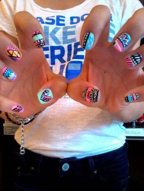 tribal print nails!