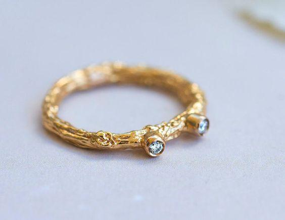 Rose bague en or diamant en or rose bague par RawEssencesJewelry