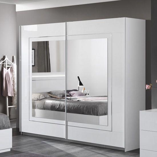 Abby Mirrored Sliding Wardrobe Large In White High Gloss Furniture In Fashion Sliding Wardrobe Wardrobe Design Bedroom Wardrobe Door Designs