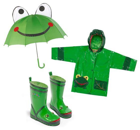 Frog Rainwear Ensemble for Boys with Umbrella, Rain Coat, and Rain ...