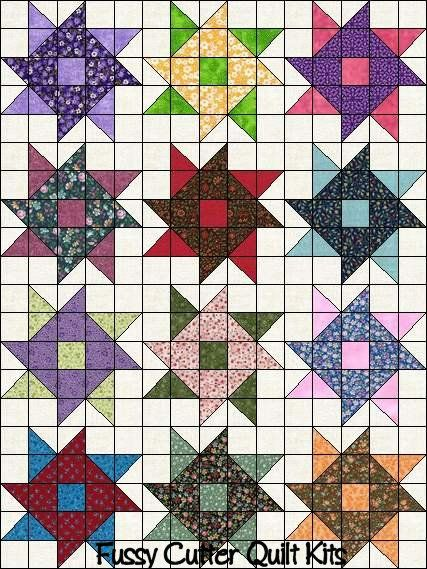 Quilt Patterns Using 5x5 Squares : HST Scrappy Grab Bag Fabric Whirlygig Pinwheel Easy Patchwork Pattern Pre-Cut Quilt Blocks ...