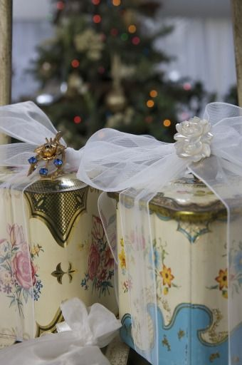 Vintage English tins/canisters from Tracey McBride's family collection are seen at her home.