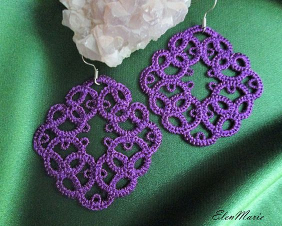 MACHINE EMBROIDERY DESIGN - Lace earrings, tatting This design is manually…