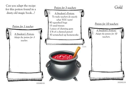Potter Math - scaling potion recipes! 3 differentiated worksheets ...