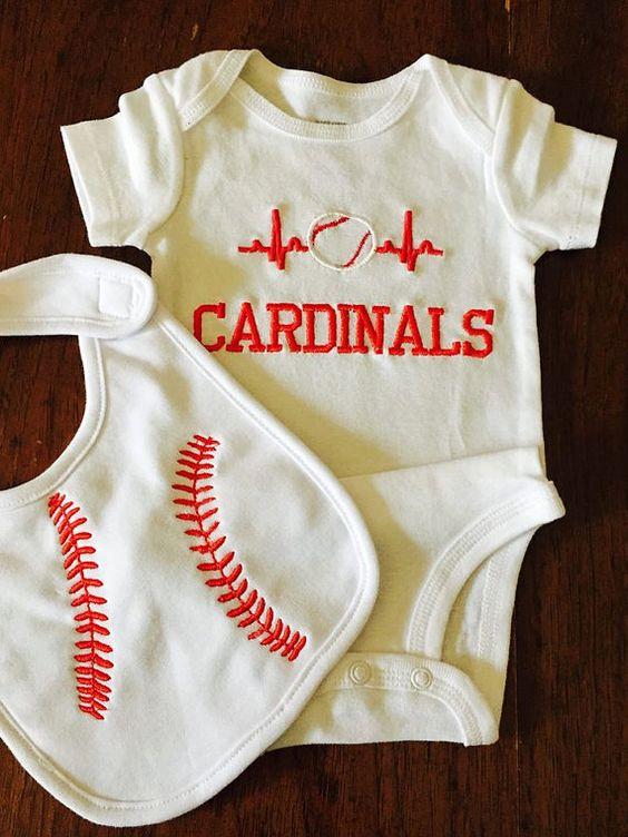 Baby boy baseball onesie and bib Cardinals by DaintyBoTeek on Etsy