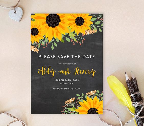 Chalkboard sunflower save the dates | Sunflower Save the date cards printed…
