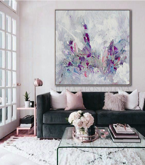 Minimalist Abstract Floral Painting Elegant Wall Art Gift For Her Oversized Art Canvas Large Wall Art Decor With Metallic Accents Up 45 In 2020 Elegant Wall Art Abstract Floral Paintings Wall