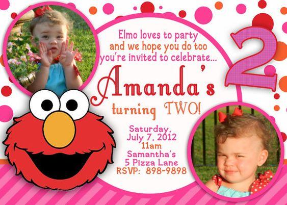 CUSTOM PHOTO Invitations Elmo Birthday Invitation You Print – Customized Elmo Birthday Invitations