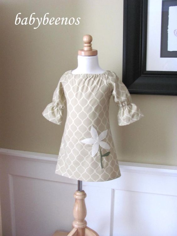 ARDEN  Girls Peasant Dress with Applique  Creme by babybeenos, $42.00