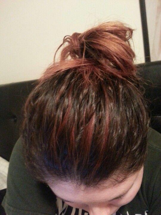 Ombre hair in bun.
