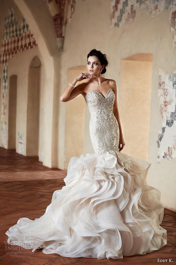 eddy k couture 2017 bridal strapless sweetheart neckline heavily embellished…