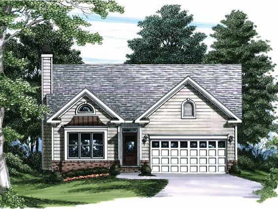 Eplans House Plan: With a box-bay window and stylish siding, this narrow-lot plan is a great  choice for a first home or  retirement cottage. Enter into the vaulted family  room for an impressive presentation. With a pass-thr
