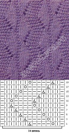 узор 65| каталог вязаных спицами узоров