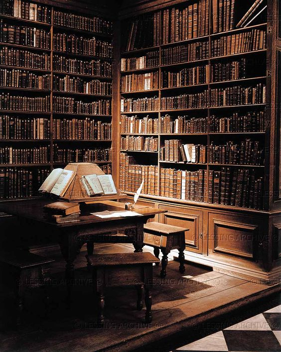 The Library...    (in our world, Trinity College Library built by Sir Christopher Wren)