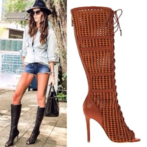 New schutz glodovea leather boots gladiator lace up cage sandal ...