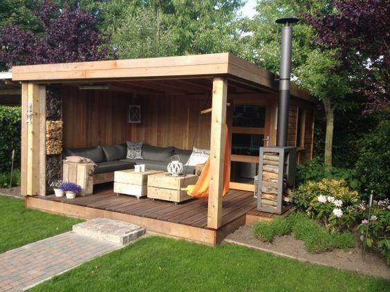 Marvelous tuinhuis schuurtje of berging met platdak en luifel lounge gedeelte moderne of rustieke uitstraling met een strak design of juist landelijke s u