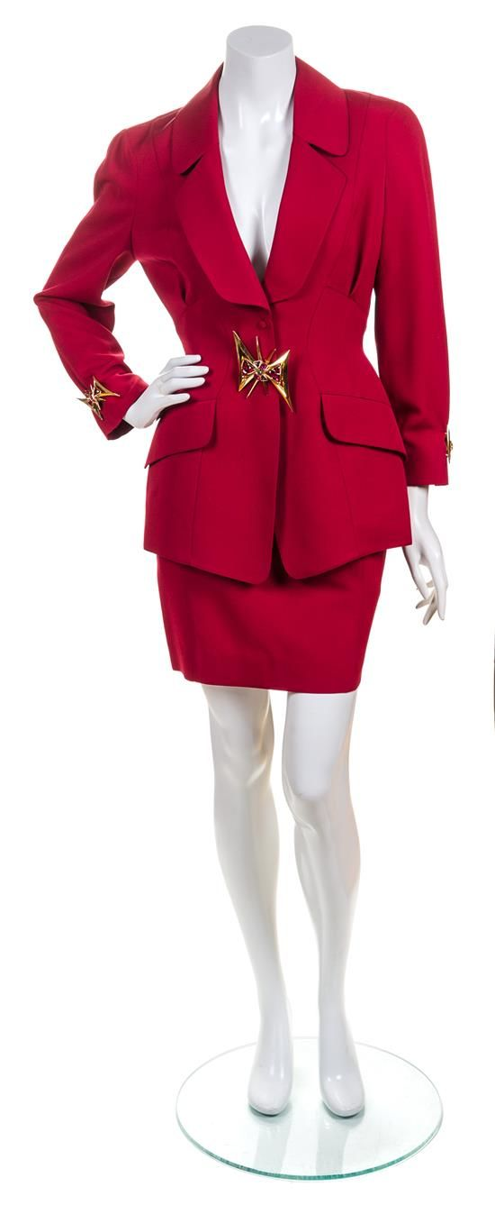 A Thierry Mugler Red Wool Skirt Suit, Size 38.