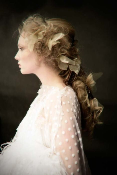 romantic hair with ribbons