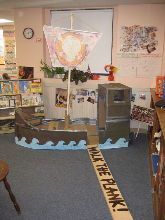 """Rivertime. Book Week 2015. Adapt for a possible display. I love this! We'd probably be making one every other year but who cares it's so cute! -- read How I Became a Pirate by Melinda Long and David Shannon -- Yes the sail moves up and down! And yes, there is a huge anchor in the back! I love the """"walk the plank"""" and tape a shark fin or two around the plank and you're set!!"""