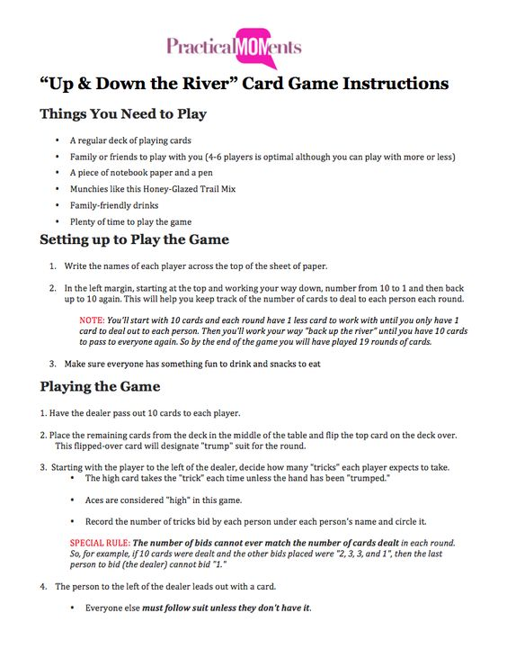 Up and Down the River 10 points plus bid if you get it 0 points - canasta score sheet template