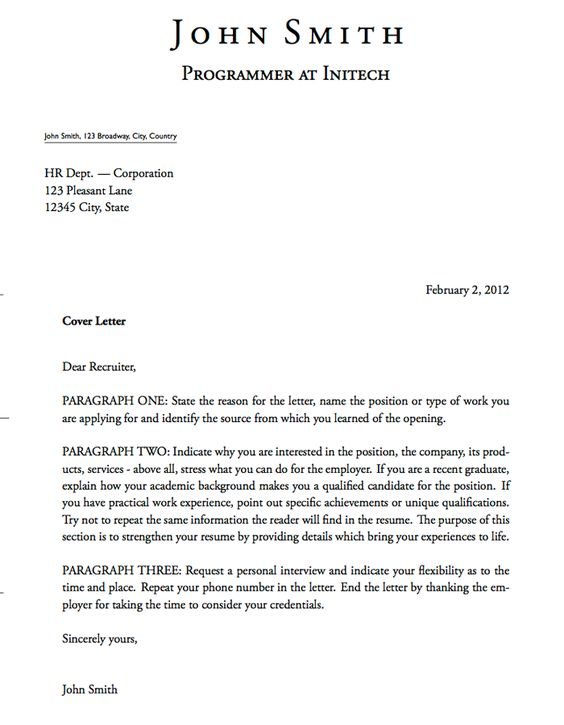 Professional Teacher Cover Letter Pinterest  A Cover Letter For A Job