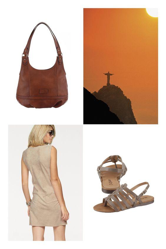 Das Etuikleid von Laura Scott in schöner Velourslederoptik spiegelt die wilde Leidenschaft Südamerikas wider. Die trendige Handtasche und Sandalen aus Lederimitat unterstützen den elegant-exotischen Flair – perfekt für ausgiebige City-Touren durch Rio.